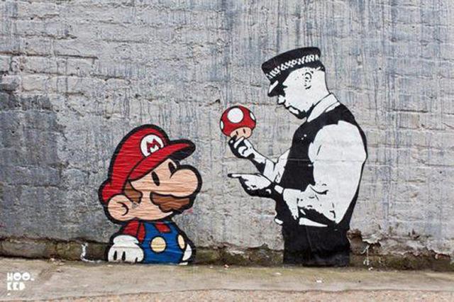 Quand des personnages de jeux vido saffichent en Street Art
